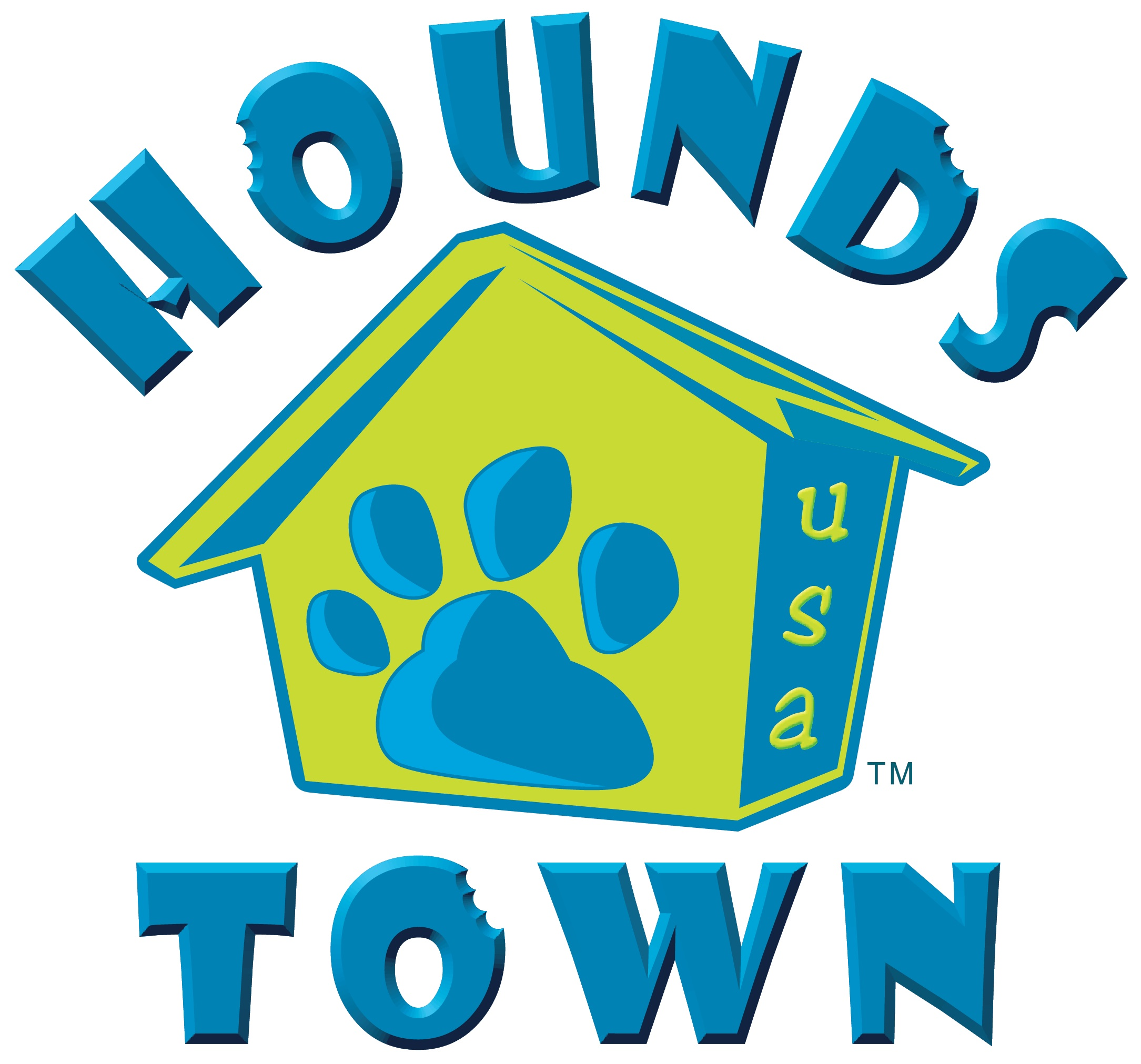 hounds town doghouse logo and word art graphic